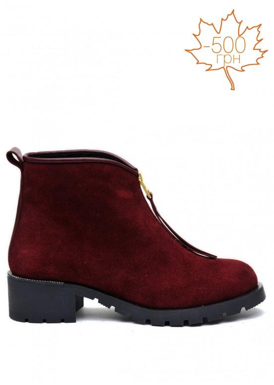 014001 Замшевые бордовые ботинки