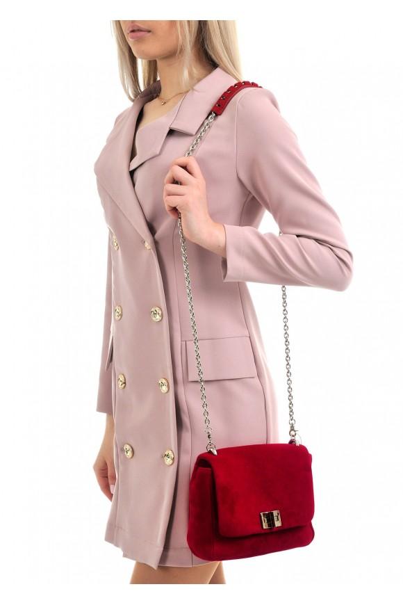 10130 Красно-малиновая замшевая сумка