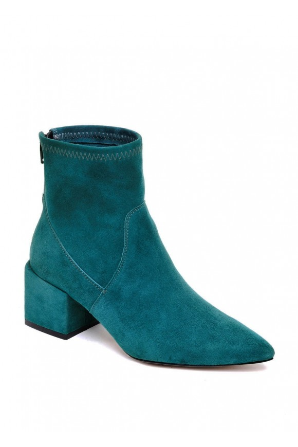 Бирюзовые Ботинки Замшевые