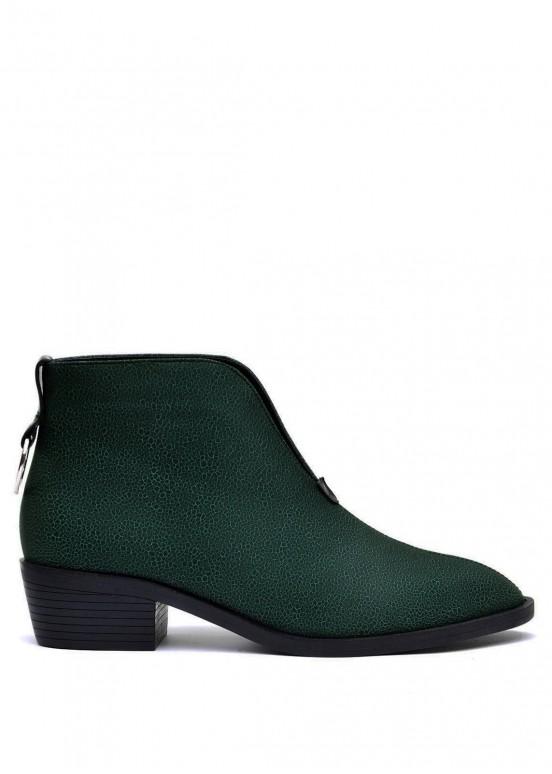876111 Зеленые кожаные ботильоны