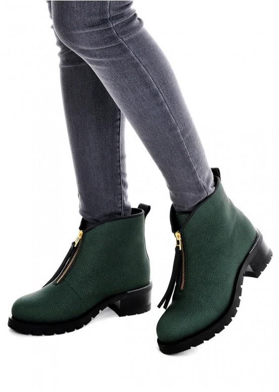 Зеленые кожаные ботинки 014011