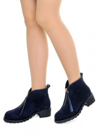 014021 Синие замшевые ботинки