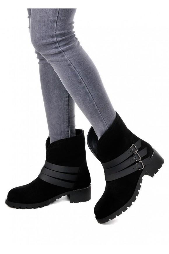 014101Черные замшевые ботинки