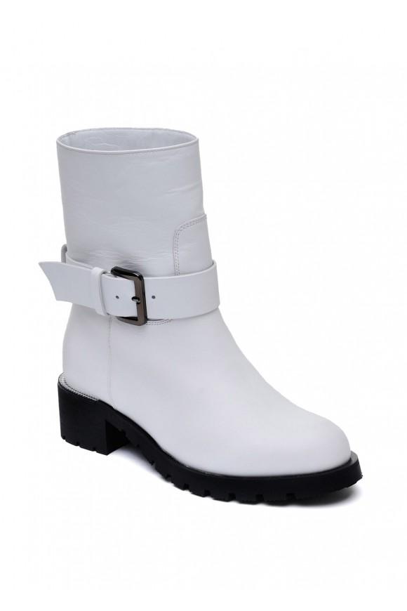 014611 Белые кожаные ботинки