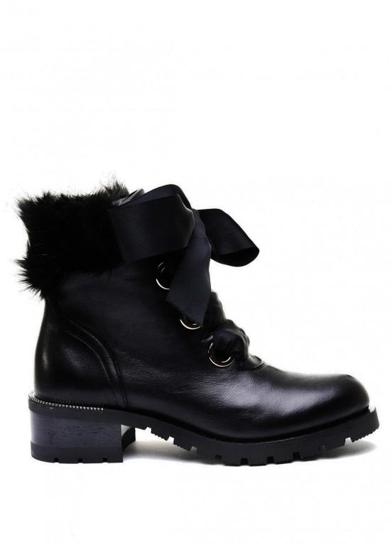 014701 Черные кожаные ботинки