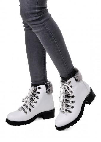 014801 Белые кожаные ботинки