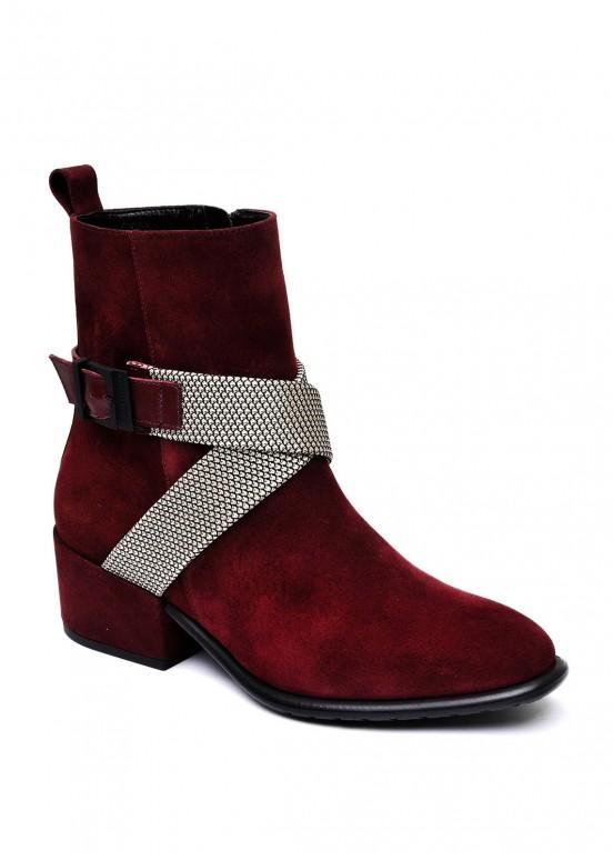 024531 Бордовые замшевые ботинки