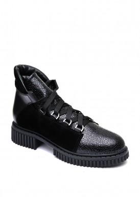 033002 Черные кожаные ботинки на шнурках