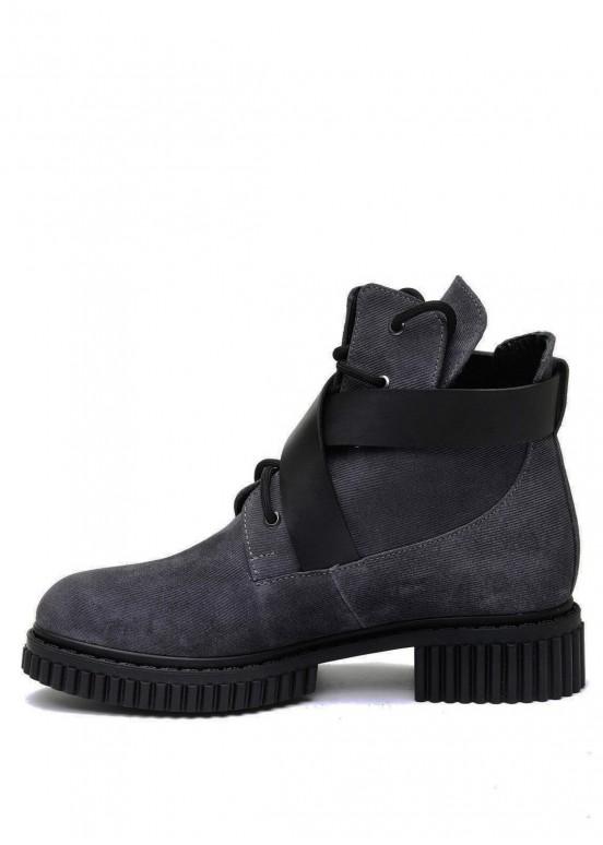 033602 Серые замшевые ботинки на меху
