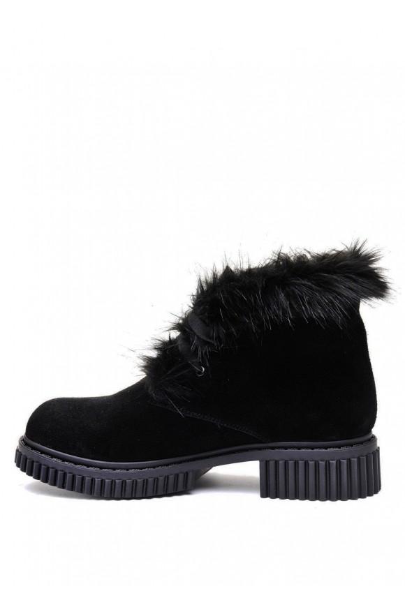 033702 Черные замшевые ботинки на меху