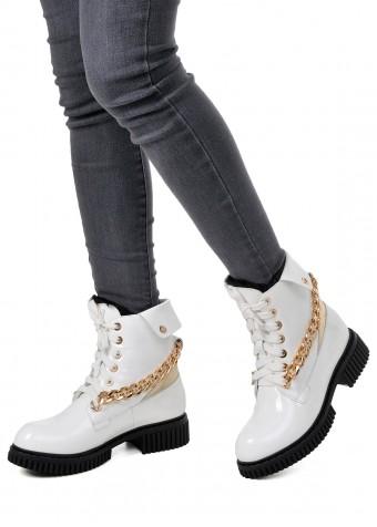 034312 Лаковые белые ботинки