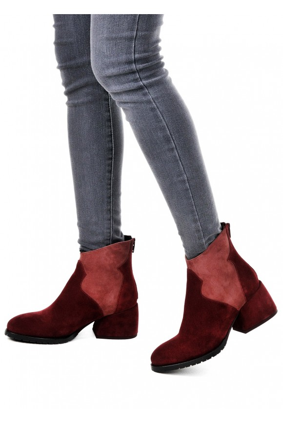 425711 Бордовые замшевые ботинки