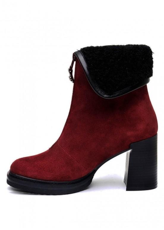 652013 Бордовые ботинки замшевые