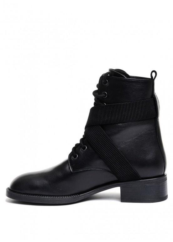 730101 Кожаные черные ботинки