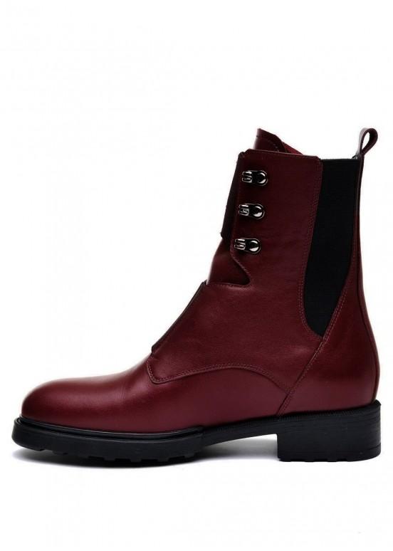 740121 Бордовые кожаные ботинки