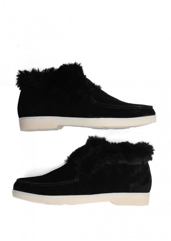 329931 Замшевые черные ботинки на меху