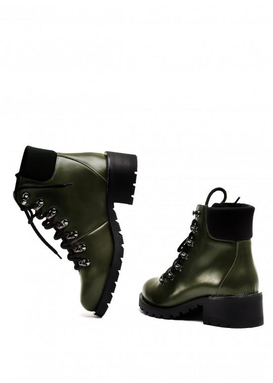 014831 Кожаные ботинки цвета хаки