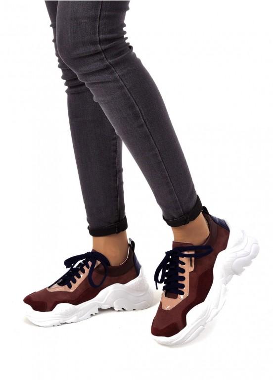 """565530 Кожаные бордовые кроссовки """"Ugly shoes"""""""