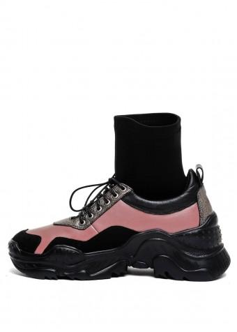 565806 Кожаные кроссовки с чулком