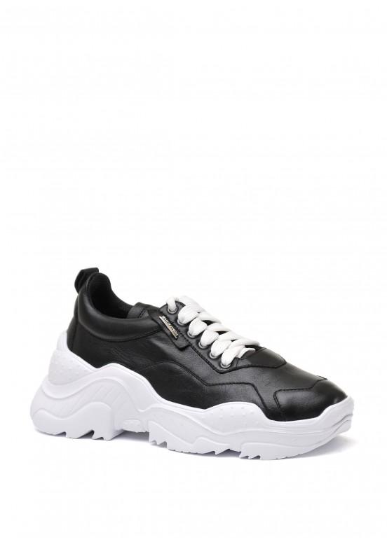 565510 Черные кожаные кроссовки