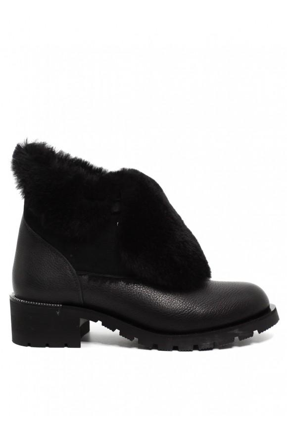 014201 Черные кожаные ботинки на меху
