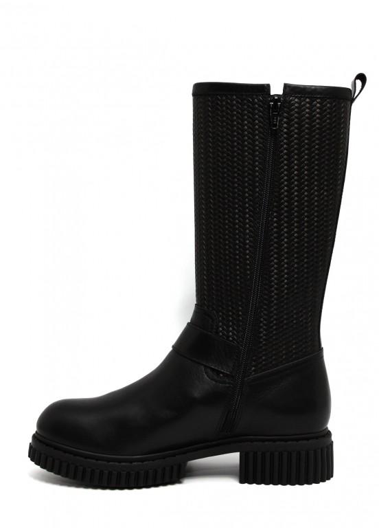 032712 Черные кожаные сапоги