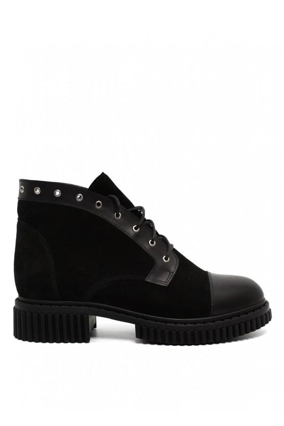 032802 Замшевые черные ботинки