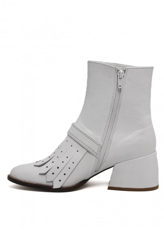425201 Кожаные белые ботинки
