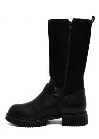 032702 Шкіряні чорні чоботи