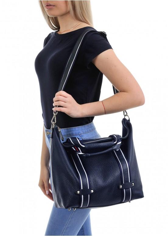10220 Синяя кожаная сумка