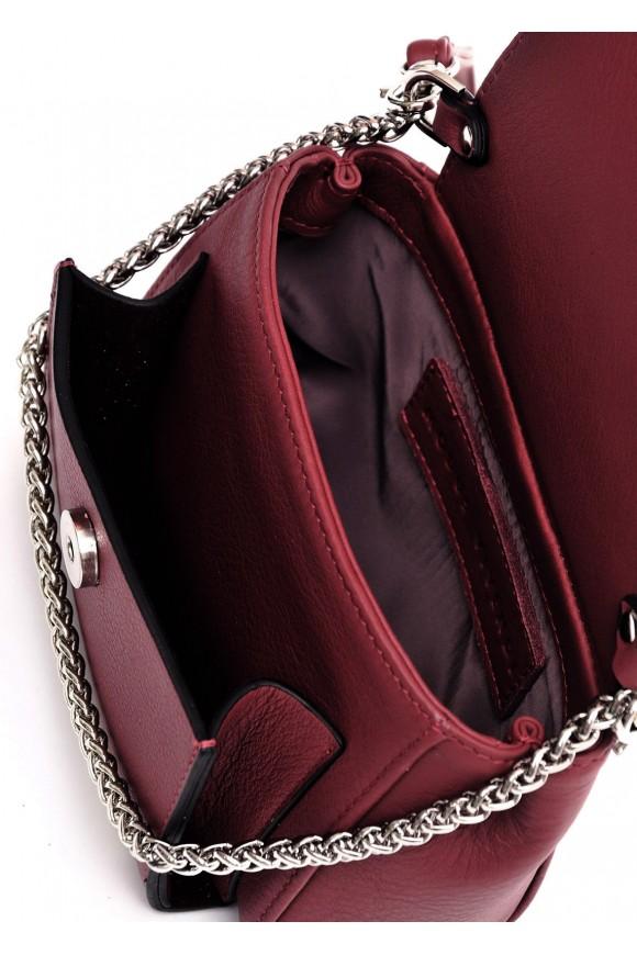 Кожаная бордовая ременная сумка