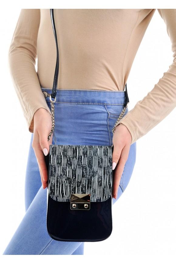 10261 Лаковая синяя сумка