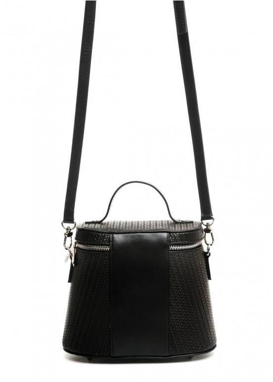 10340 Черная кожаная сумка с тиснением