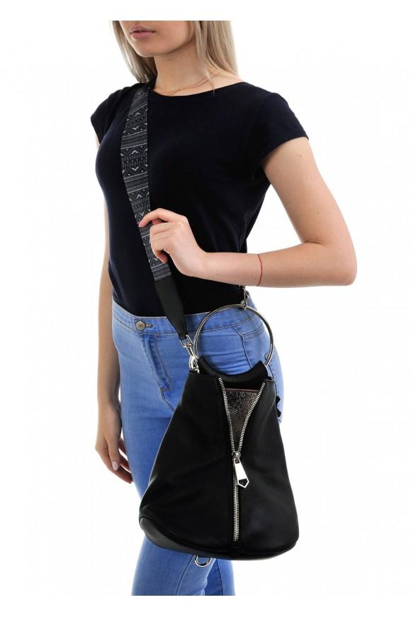 10360 Кожаная черна сумка-рюкзак