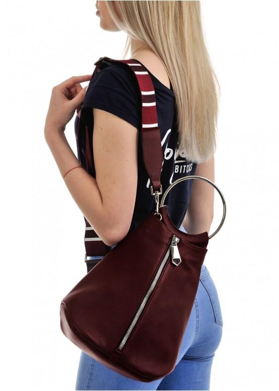 10361 Кожаная лиловая сумка-рюкзак