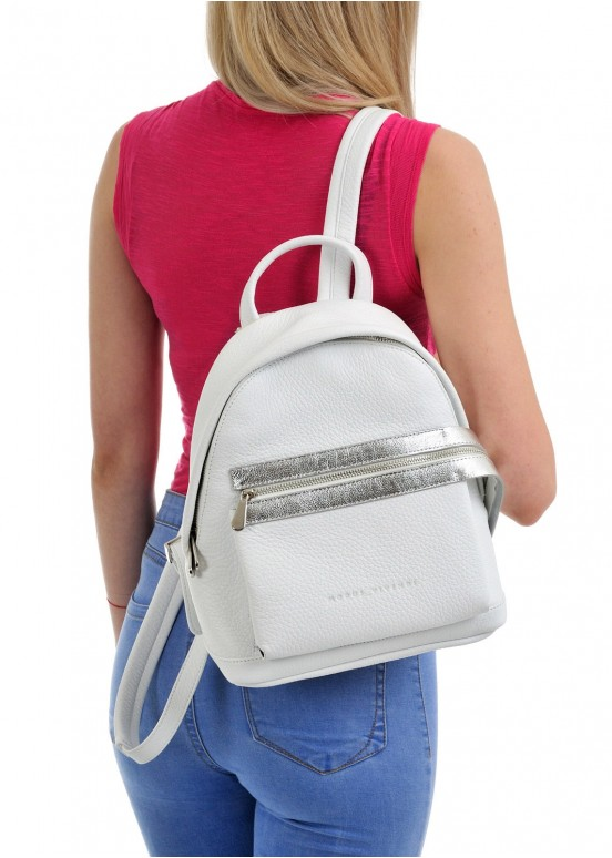 10421 Белый кожаный рюкзак