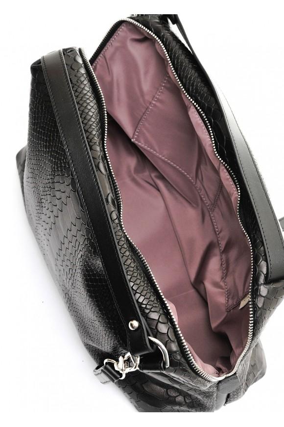 89202 Черная кожаная сумка с тиснением