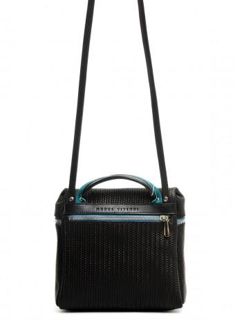 95505 Черная кожаная сумка с тиснением