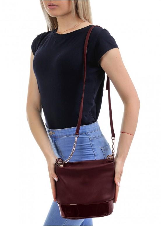 97701 Бордовая кожаная сумка