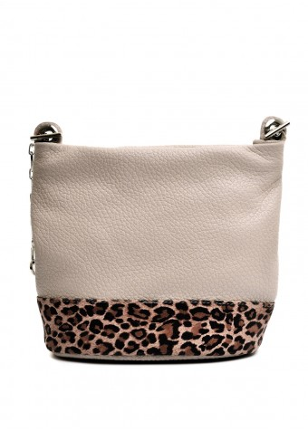 97702 Бежевая кожаная сумка с леопардовым принтом