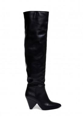 722404 Черные кожаные ботфорты трубы