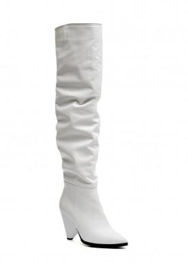 722424 Белые кожаные ботфорты