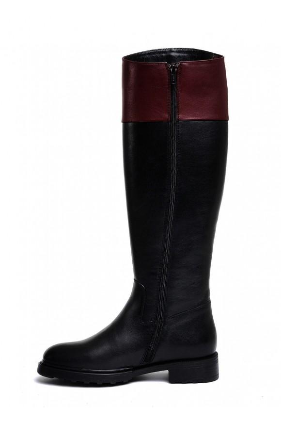 740201 Черные кожаные сапоги