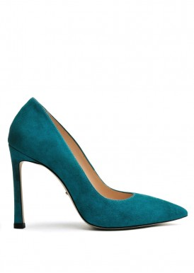 158011 Замшевые бирюзовые туфли