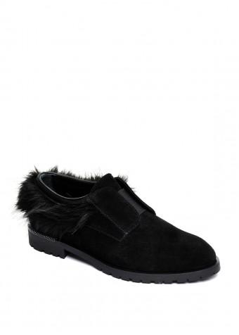 250401 Черные замшевые туфли низкий ход