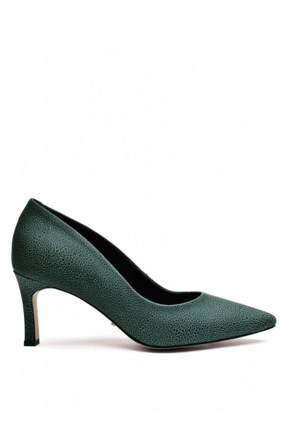 973383 Зеленые кожаные туфли