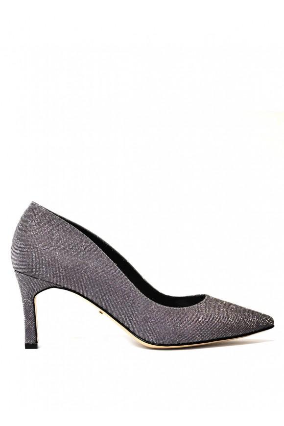 Вечірні туфлі з італійської взуттєвої тканини з блиском
