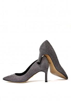 9733 Вечерние туфли из итальянской обувной ткани с блеском