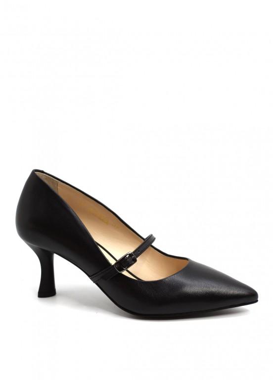 973804 Черные кожаные туфли
