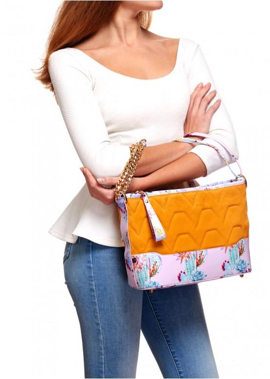 87902 Кожаная сумка с эксклюзивным принтом
